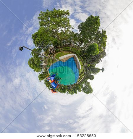 Circle panorama of playground in the park