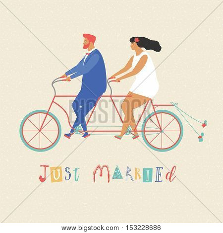 Young newlywed couple riding a bicycle, going to honeymoon. Just married couple illustration in vector. Just married sign and cans attached to bicycle.