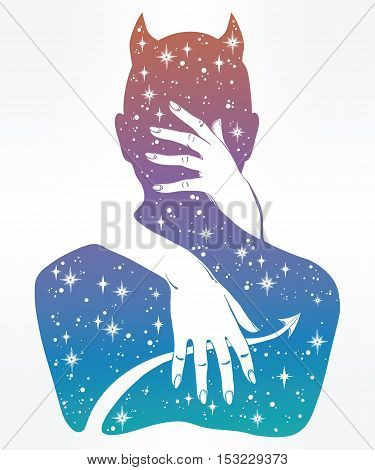 Hand drawn beautiful silhouette artwork of a demon in a hug. Mystic lady hugging Satan. Alchemy, religion, spirituality, occultism, tattoo art. Isolated vector illustration.