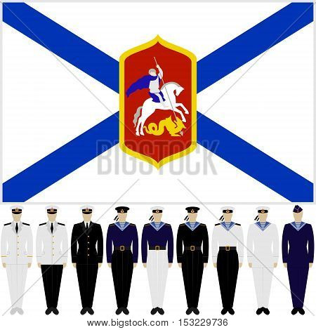 Flag of the Russian Navy and soldiers and officers in the uniform of the Navy. The illustration on a white background.