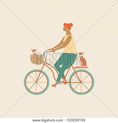 Pretty girl riding a bicycle carrying a basket with cute beagle puppy in. Owner ride a bike with a dog. Fun activities people and dog.