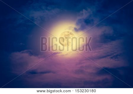 Nighttime Sky With Cloudy And Beautiful Moon. Vintage Effect Tone.