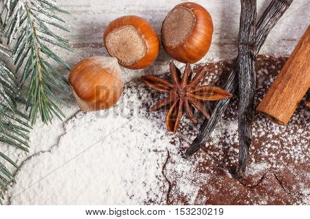 Dough For Christmas Cookies, Spice And Ingredient For Baking Gingerbread