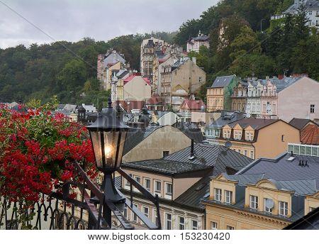 Rainy misty day day in Karlovy Vary (Karlsbad) Czech Republic. Cityscape view.