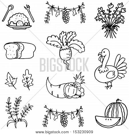 Collection stock thanksgiving set doodles vector art