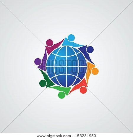 Community of people joined around the globe 8 people icon. people friends logo concept vector icon. this icon also represents friendship, partnership cooperation unity,
