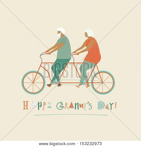 Happy grandparents day card with elderly couple on bicycle tandem in vector