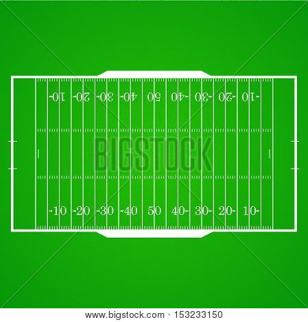 A realistic aerial view of an official American football field. Top view with marking, easily resizable. Template for a website, mobile application, presentation, corporate identity design