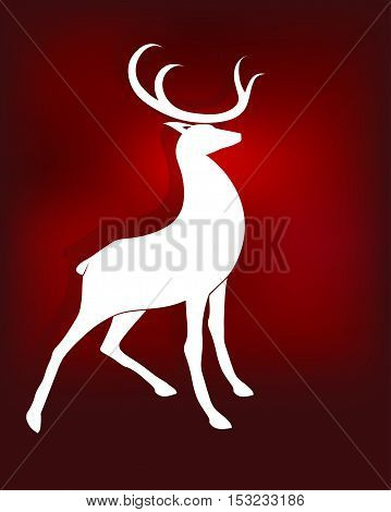 illustration of silhouette of a majestic standing reindeer in white on a red background