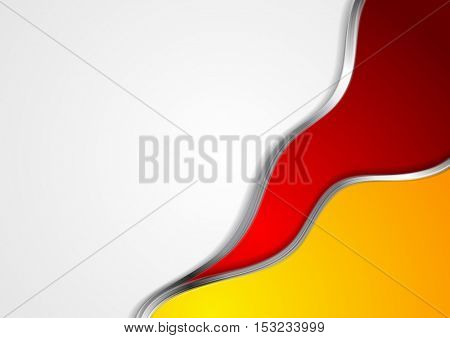 Abstract bright wavy background with silver lines. Red orange vector metallic waves background