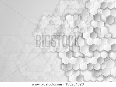 Light grey tech background with hexagons. Abstract geometric glossy vector design