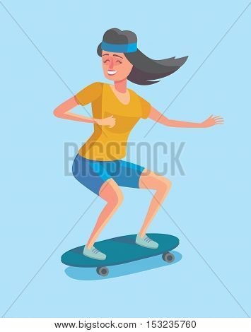 Vector illustration in flat design. Cartoon style character of hipster concept. Freedom young people, longboard rider.