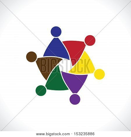 Teamwork Meeting 8. people icon. people friends logo concept vector icon. this icon also represents friendship, partnership cooperation unity,