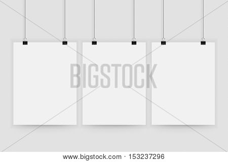 Poster mockup. Vector mock up blank paper hanging on office clip. Paper gallery set on white background.