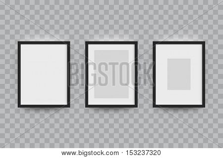 Vector mockup for picture frame. Vector realisitc paper plastic black border frame mock up. Isolated picture frame A3, A4