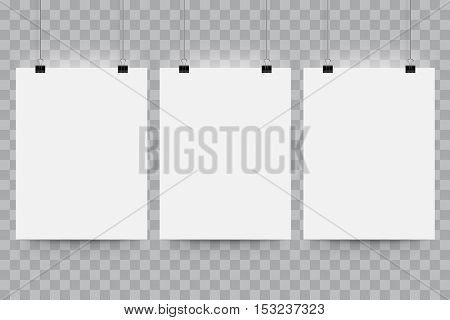 Vector poster mockup. A4 blank paper mock up hanging on office clip. Paper gallery set on transparent background.