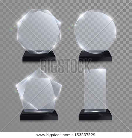 Glass trophy award. Vector award on transparent background