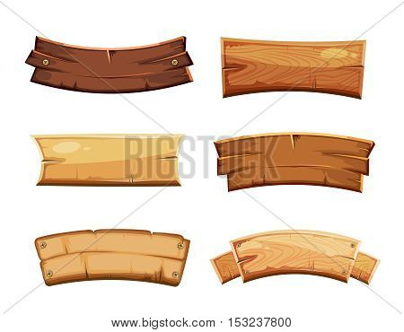 Cartoon wood blank banners and ribbons, western signs vector set. Wooden banner and vintage frame plank illustration