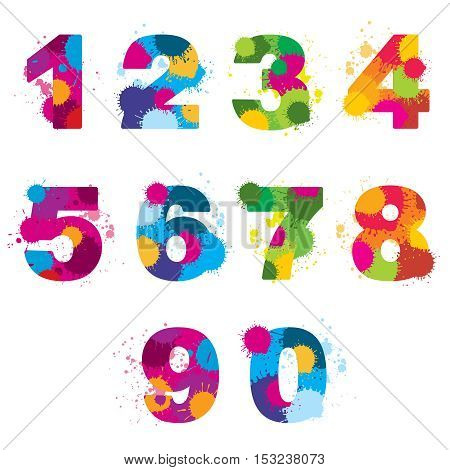 Vector numbers painted by colorful splashes. Rainbow arithmetic signs illustration