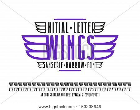 Narrow sanserif font. Decorative initial letter wings for emblem and labels. Isolated on white background