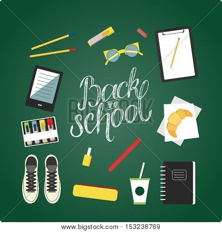 Flat design illustration of school topic with hand draw lettering. School bag, flats, nail polish, lunch, notebooks, croissant, tumbler, vogue bottle. Outfits for school in vector.
