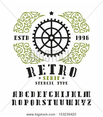 Stock vector set of serif stencil-plate font and decorative frame. Bold typeface