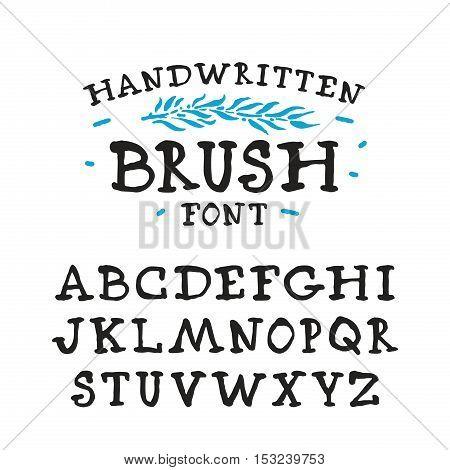 Vector handwritten brush serif font. Isolated on white background