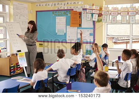 Primary school teacher using a flip chart in a lesson