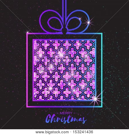 Christmas Greeting card. Purple glitter gift box with bow. Happy New Year on black background with symmetry ornament. Vector design illustration