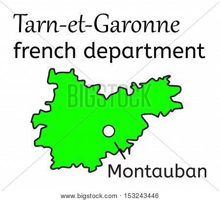 Tarn-et-Garonne french department map on white in vector