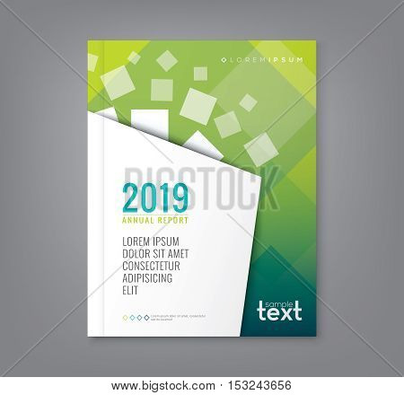 Abstract shape design on green background for business annual report book cover brochure flyer poster