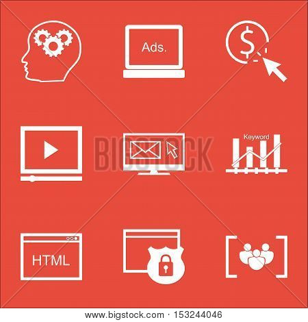 Set Of Seo Icons On Video Player, Keyword Optimisation And Security Topics. Editable Vector Illustra