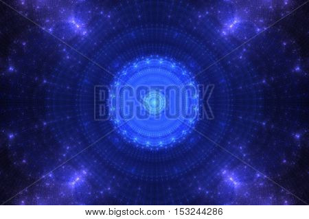 Blue flofractal blue circle pattern petals inside and along the contour lines and diverge from it blue petals ending in outer space lilacwer fractal in space.