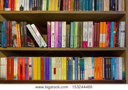 PORTO, PORTUGAL - SEPTEMBER 09, 2016: Bookshelf in book shop Livraria Lello on September 09, 2016 in Porto, Portugal.