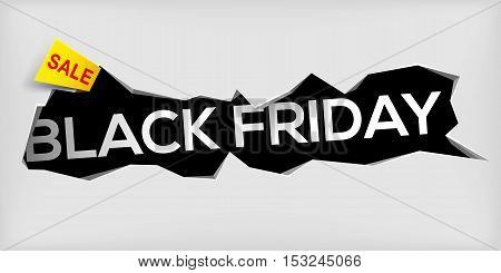 Black friday banner on gray background. Cracked hole in wall with black friday inscription. Sale and discount. New offer. Vector illustration.