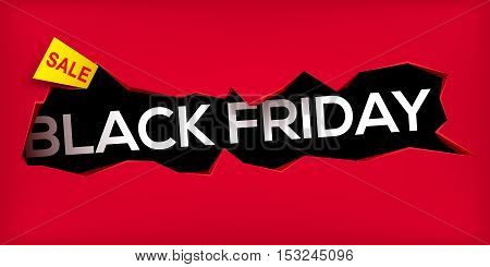 Black friday banner. Cracked hole in wall with black friday inscription. Sale and discount. New offer. Vector illustration.