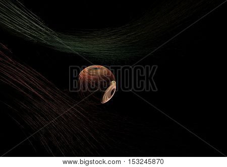 fractal abstract striped ball with beige stain and black hole with green and red stripes on a black background