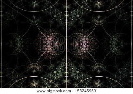 fractal pattern vintage colors with intersecting lines symmetrical with two mirror-reflected red flowers