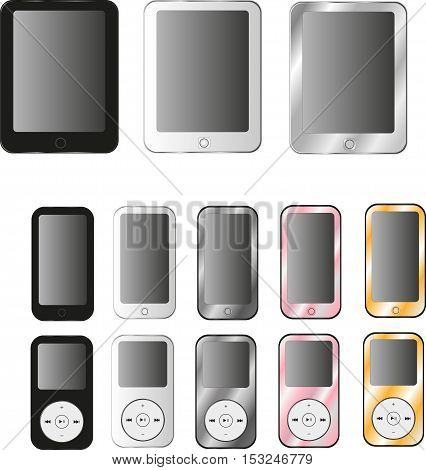 New realistic mobile phone smartphone collection iphon style mockups with blank screen isolated on white background. Vector illustration. for printing and web element Game and application mockup.