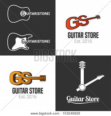 Guitar shop music store set of vector icon symbol emblem logo. Template graphic design elements for music festival band guitar boutique