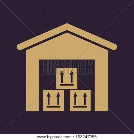 The warehouse icon. Storehouse and logistic symbol. Flat Vector illustration