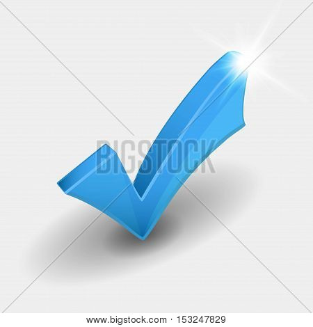 Check mark with shiny light on white background
