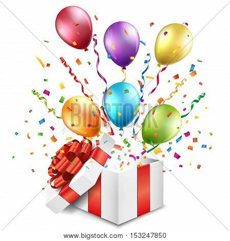 Open gift box with colorful balloons on white background