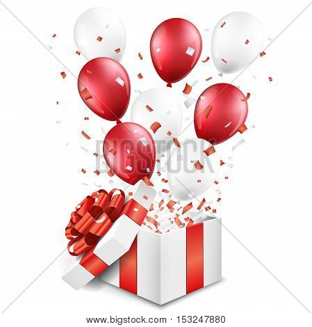 Surprise open gift box with balloons and confetti on white background