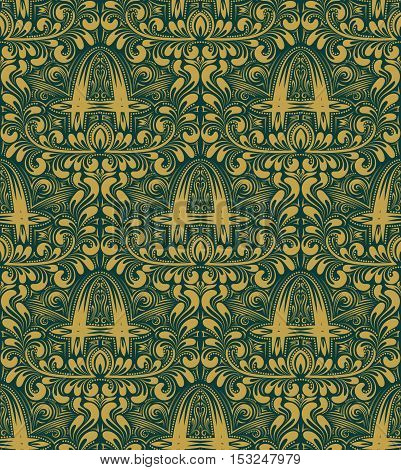 Damask seamless pattern repeating background. Gold turquoise floral ornament with A letter in baroque style. Antique golden repeatable wallpaper.
