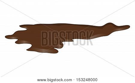 Puddle of chocolate mud spill clipart. Brown stain plash drop. Vector illustration isolated on the white background