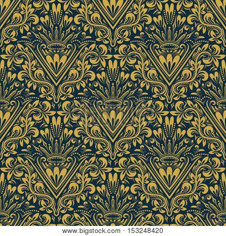Damask seamless pattern repeating background. Gold blue floral ornament with V letter and crown in baroque style. Antique golden repeatable wallpaper.