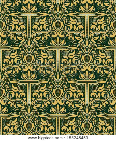 Damask seamless pattern repeating background. Gold green floral ornament with T letter in baroque style. Antique golden repeatable wallpaper.
