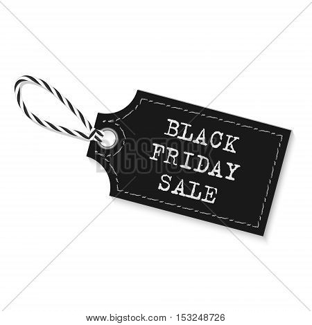 Black friday sale label with bakers twine rope on white background