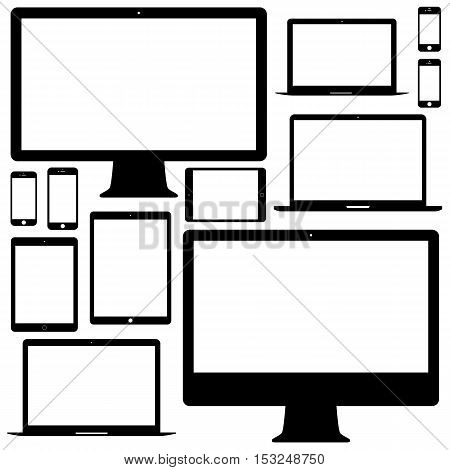 mockup gadget and device: smartphones tablets laptops computer monitors icons set black color on white background. stock vector illustration eps10
